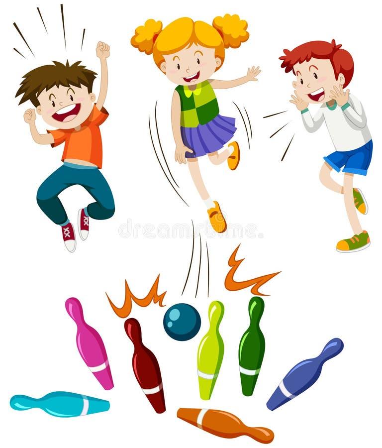 Barn som spelar leken av bowlingen royaltyfri illustrationer