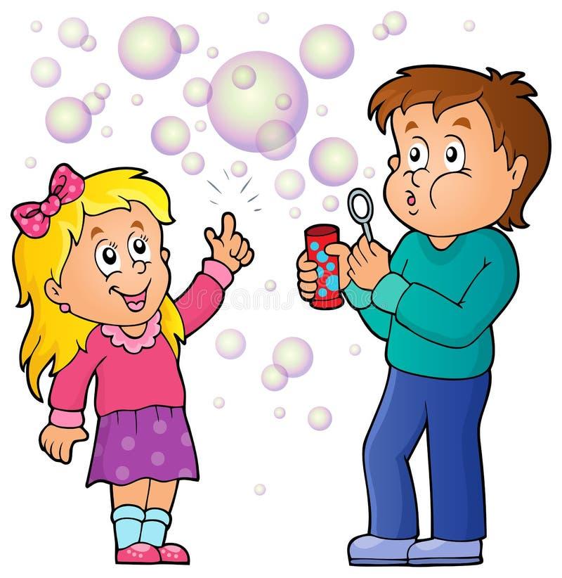 Barn som spelar med bubblasatstema 1 stock illustrationer