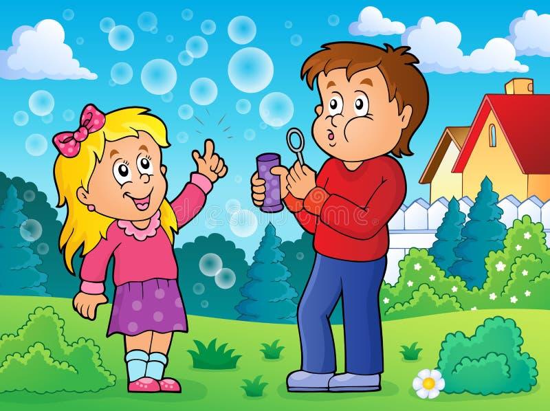 Barn som spelar med bubblasatstema 2 royaltyfri illustrationer