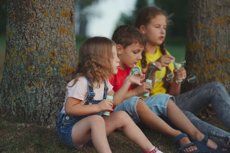 Barn som spelar med såpbubblor parkerar in royaltyfria bilder