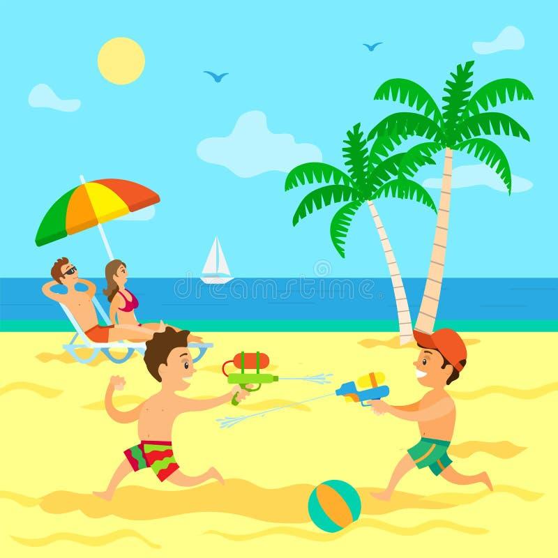 Barn som spelar med vattenvapen, sommarsemester stock illustrationer