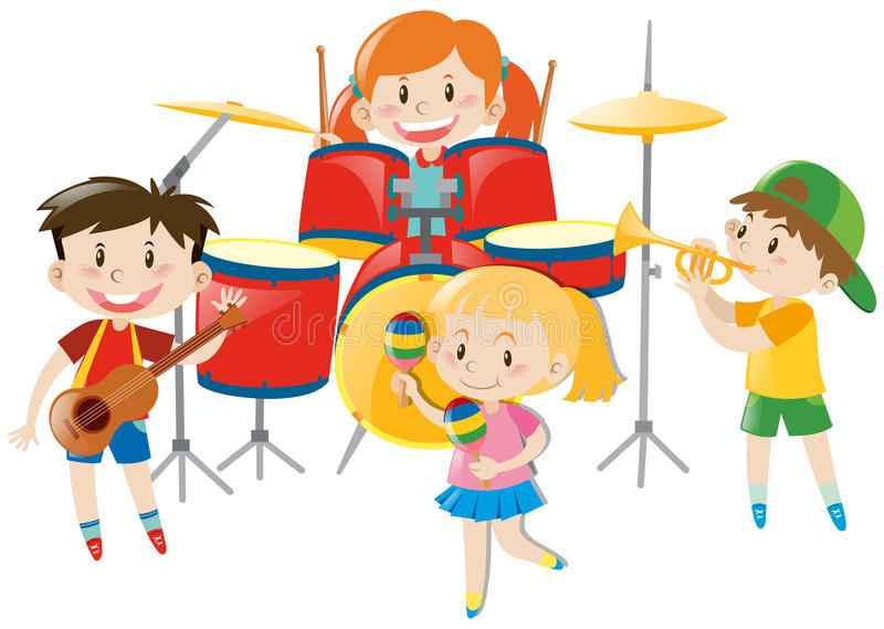 Barn som spelar musik i musikband vektor illustrationer