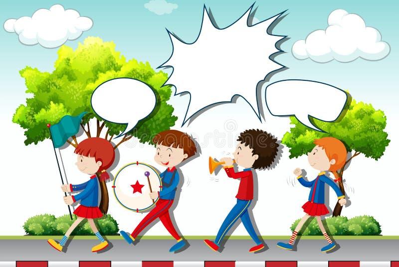 Barn som spelar musik i musikbandet stock illustrationer