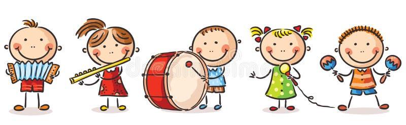 Barn som spelar olika musikinstrument stock illustrationer