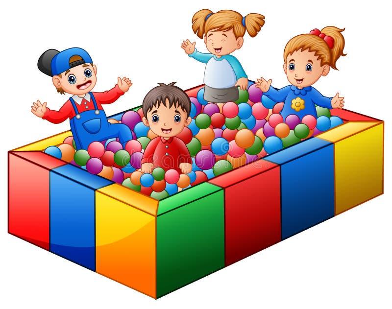 Barn som spelar på färgrik bollpöl vektor illustrationer