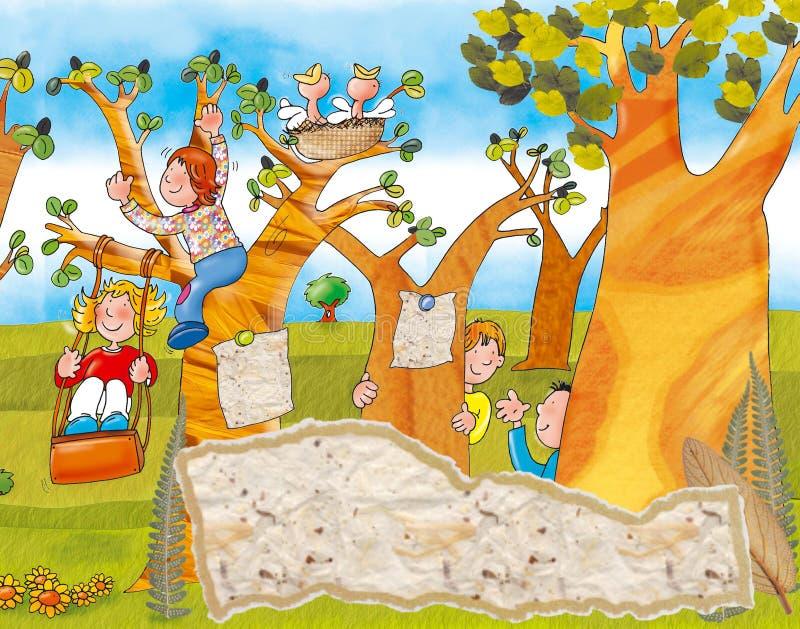 Barn som spelar på gungorna och kurragömma royaltyfri illustrationer