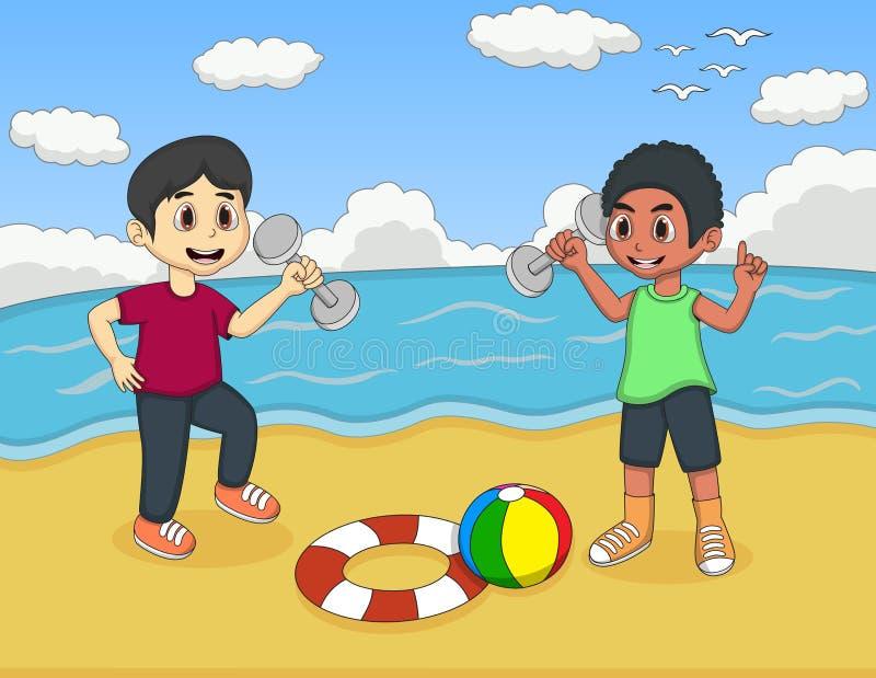 Barn som spelar på strandtecknade filmen royaltyfri illustrationer