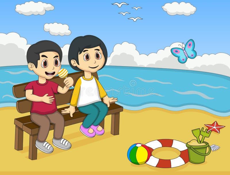 Barn som spelar på strandtecknade filmen vektor illustrationer