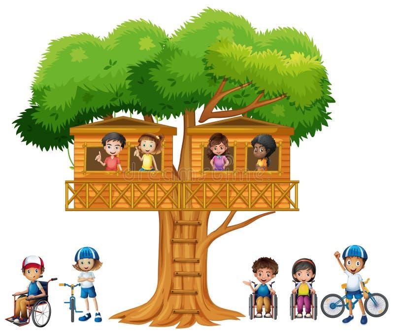 Barn som spelar på treehousen royaltyfri illustrationer