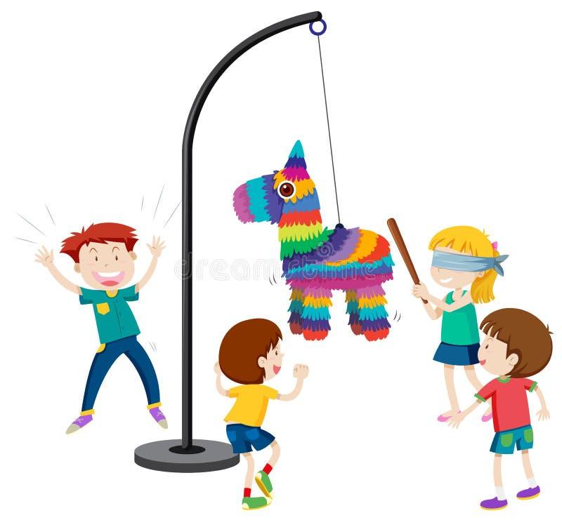Barn som spelar pinatasällskapsspelet vektor illustrationer