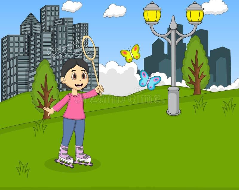 Barn som spelar rullskridskon på parkeratecknade filmen stock illustrationer