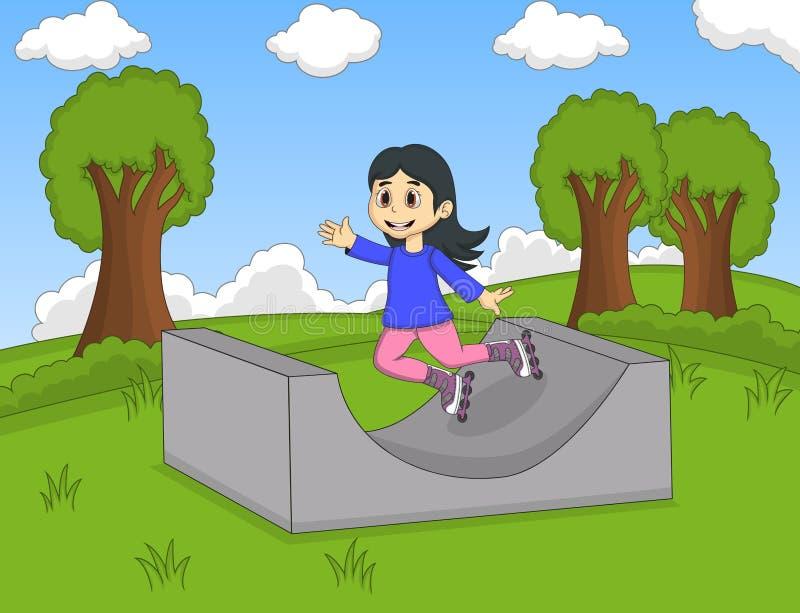 Barn som spelar rullskridskon på parkeratecknade filmen royaltyfri illustrationer
