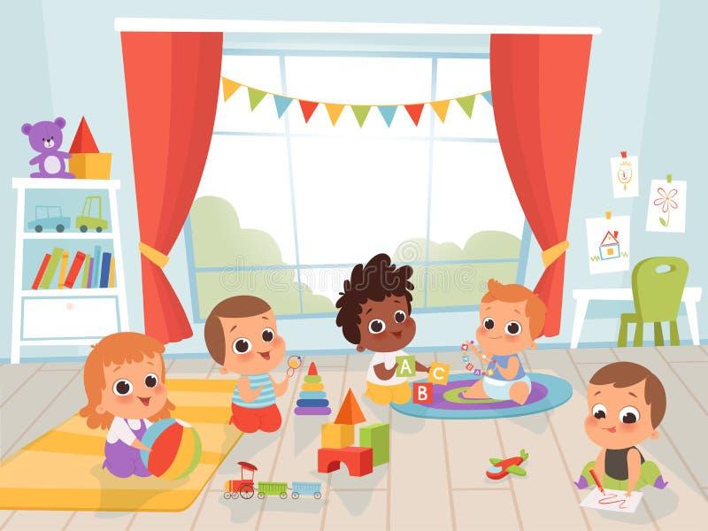 Barn som spelar rum Små nyfödda eller 1 år gamla barn med leksaker inomhus, tecken på vektorer royaltyfri illustrationer