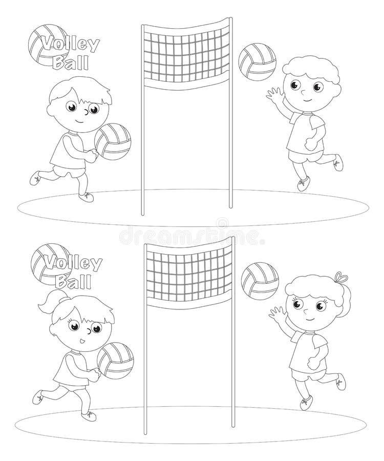 Barn som spelar salvabollfärgläggning vektor illustrationer