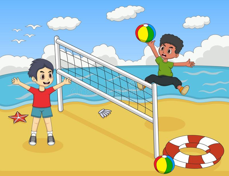 Barn som spelar volleyboll på illustrationen för strandtecknad filmvektor stock illustrationer