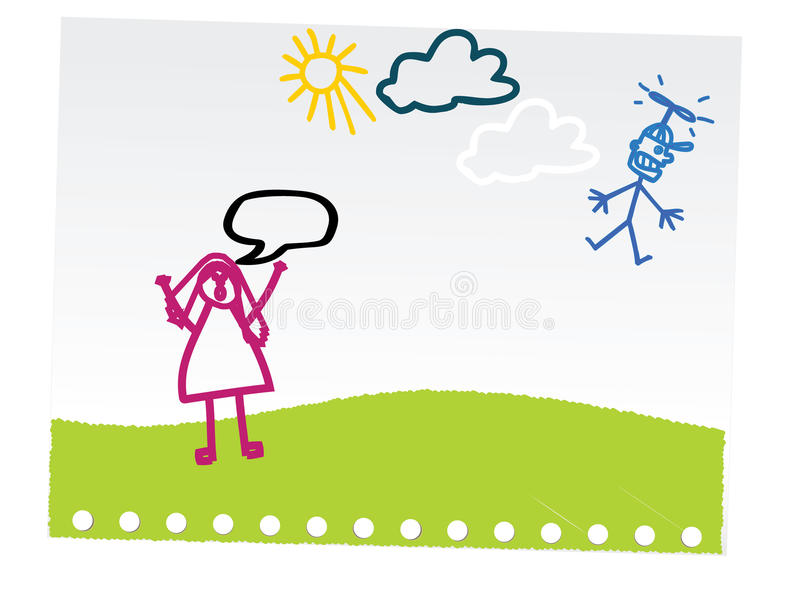 barn som tecknar den roliga handen royaltyfri illustrationer