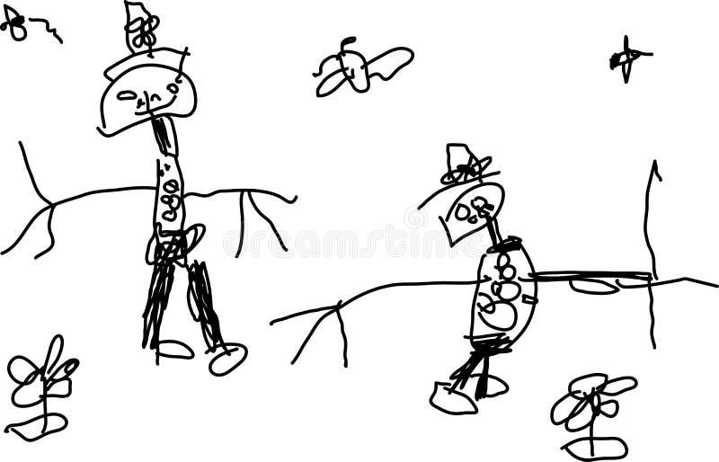 barn som tecknar roligt folk s två vektor illustrationer