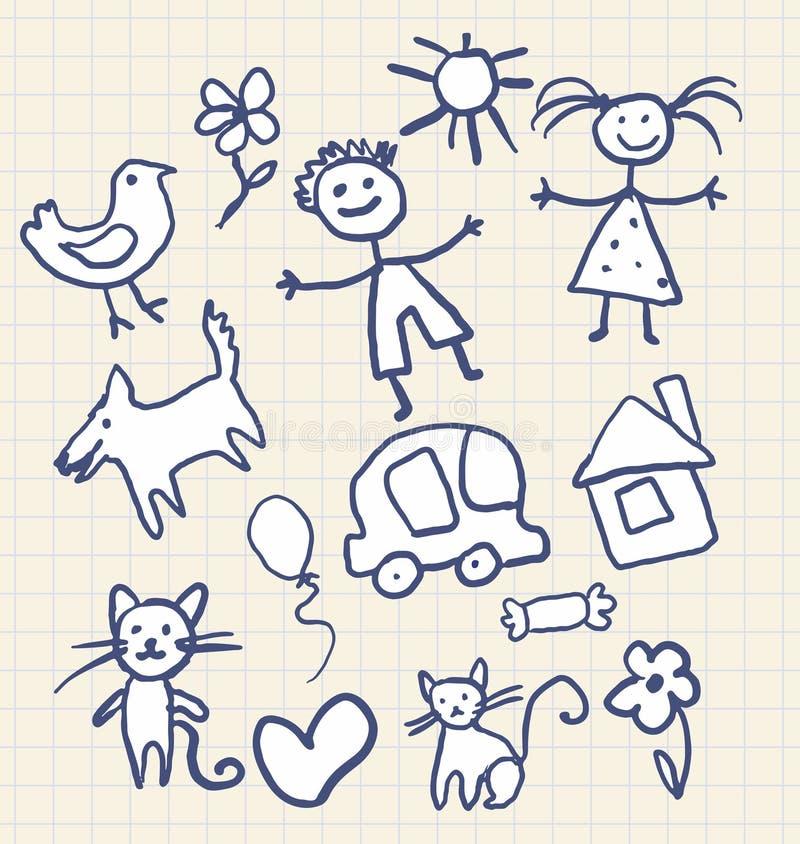 barn som tecknar s stock illustrationer