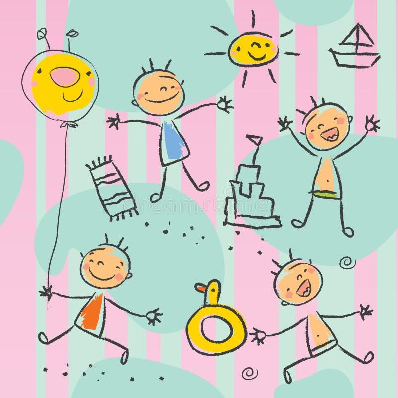 barn som tecknar s-serier stock illustrationer