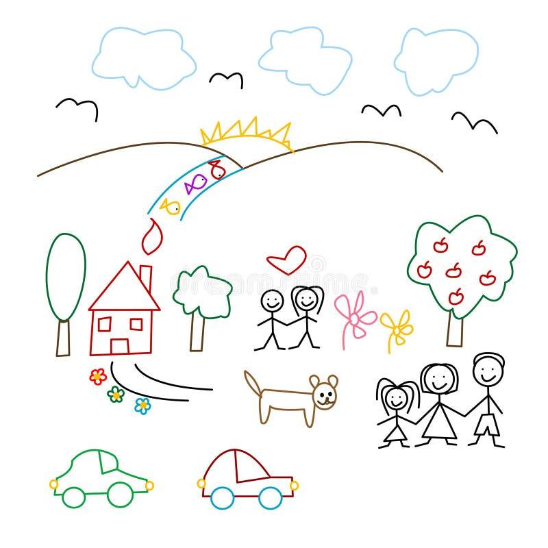 barn som tecknar seamless modell s vektor illustrationer