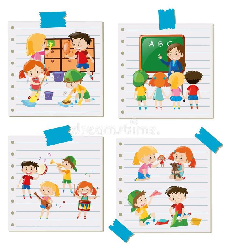 Barn som tillsammans gör olika aktiviteter stock illustrationer