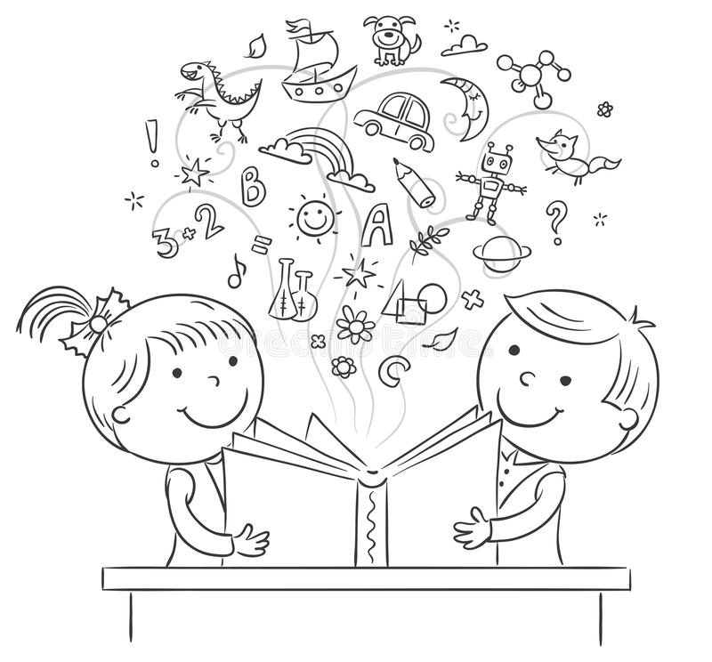 Barn som tillsammans läser en bok stock illustrationer