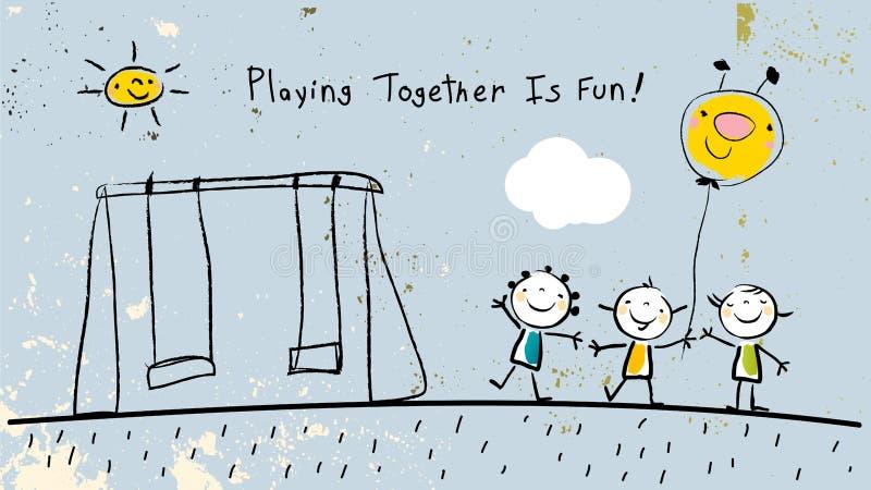 Barn som tillsammans spelar och att ha gyckel stock illustrationer