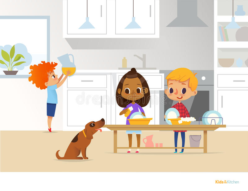 Barn som upp gör ren kök Två blandras- ungar som tvättar disk, och pojke som sätter kannan med drinken på tabellen på bakgrund Us royaltyfri illustrationer