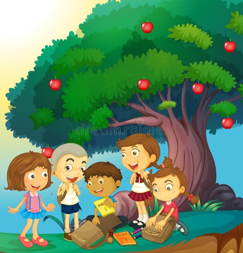 Barn som ut hänger under äppleträdet vektor illustrationer
