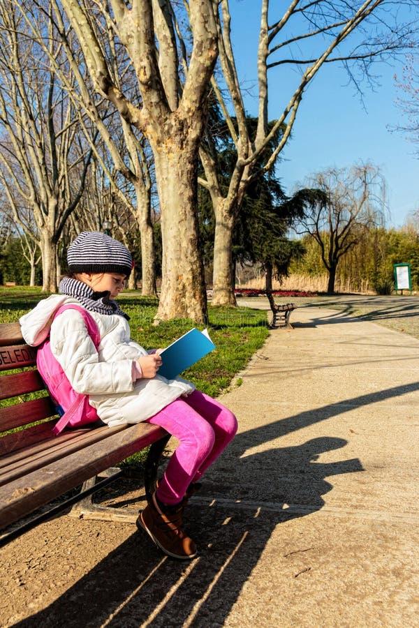 Barn som utomhus läser boken i parkera fotografering för bildbyråer