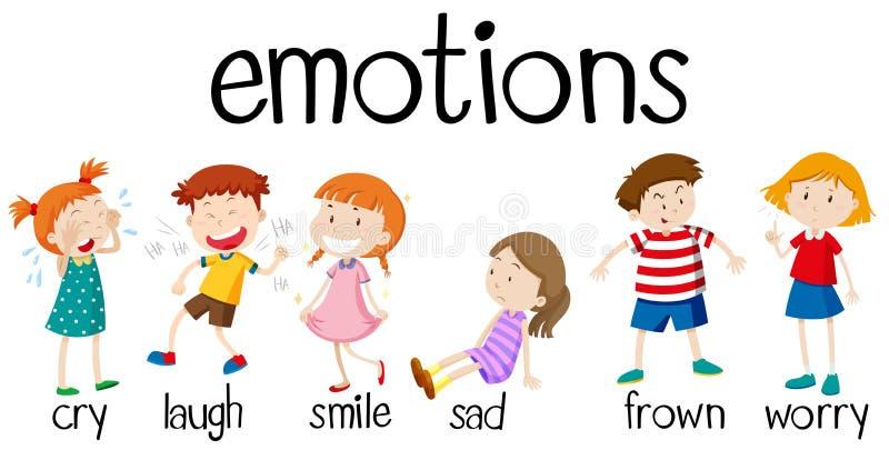 Barn som uttrycker olika sinnesrörelser royaltyfri illustrationer