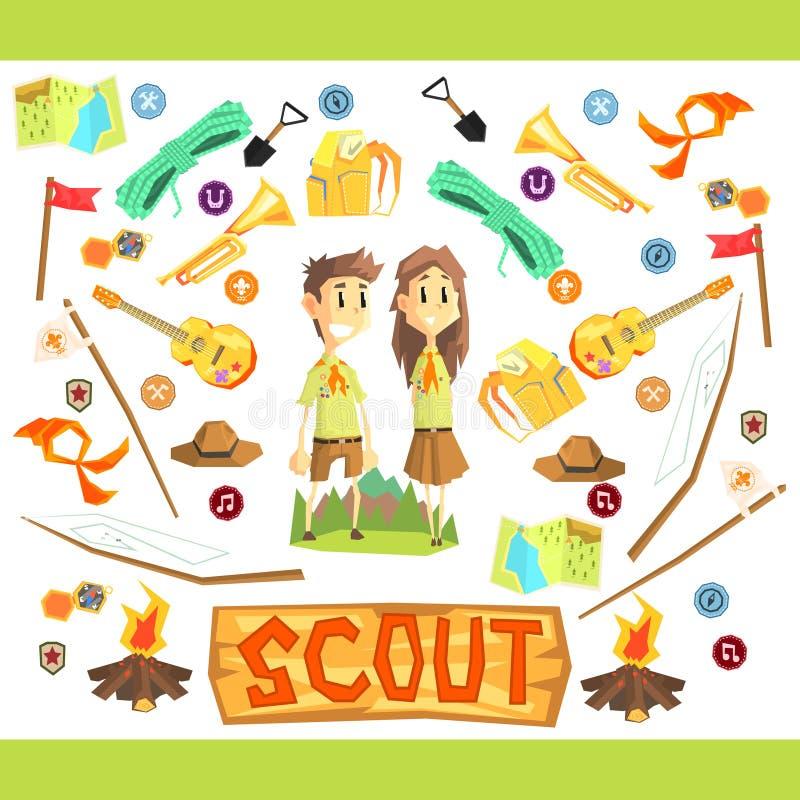 Barn spanar illustrationen royaltyfri illustrationer