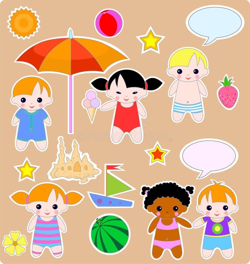 barn ställde in sommar stock illustrationer