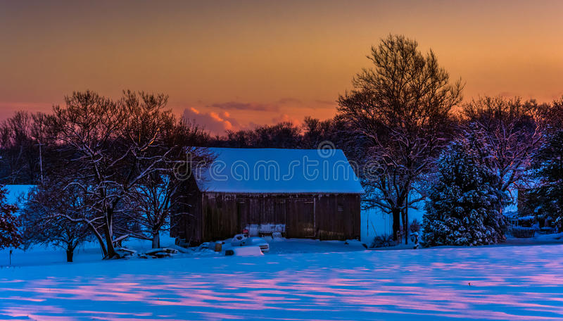 Barn at sunset during the winter, in rural York County, Pennsylvania. Barn at sunset during the winter, in rural York County, Pennsylvania royalty free stock images