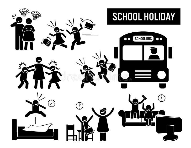 Barn tillbakaskollov och gå hem royaltyfri illustrationer