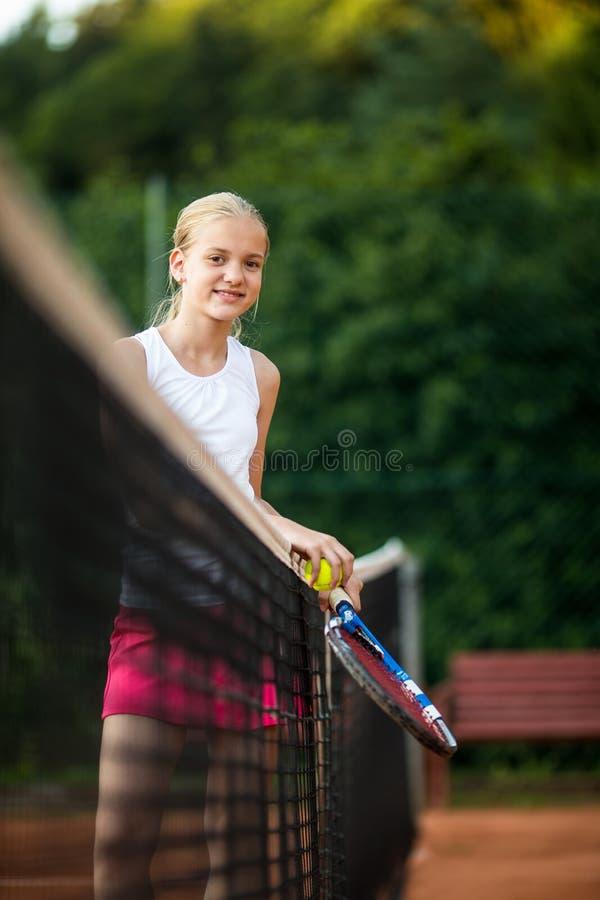 Barn tonårig tennisspelare arkivbilder