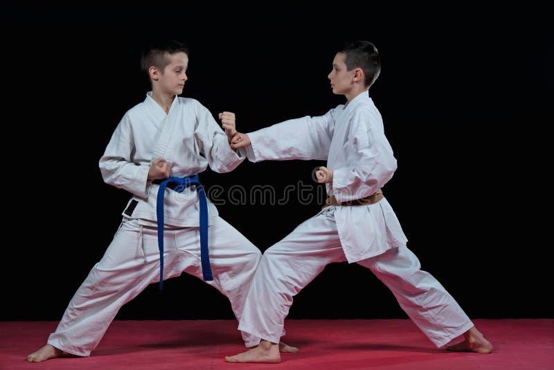 Barn utbildar karateslag royaltyfria bilder