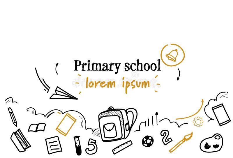 Barn utbildningsgrundskola för barn mellan 5 och 11 år sombegreppet skissar, klottrar horisontalisolerat kopieringsutrymme stock illustrationer