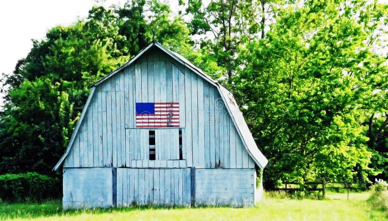 Barn with Weathered American Flag stock images