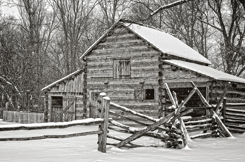 Barn in Winter stock image
