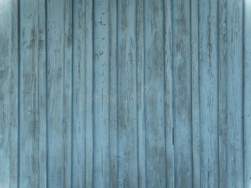 Barn wood wall with distressed, peeling blue paint. Vertical planks royalty free stock photo