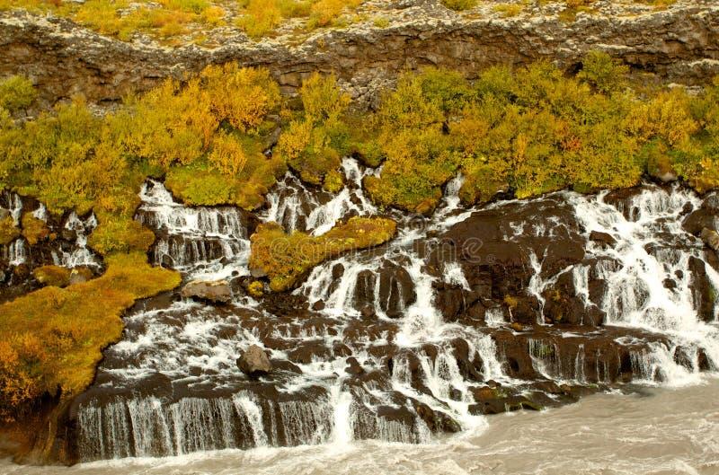 Barnafoss火山的watefalls在冰岛 库存图片