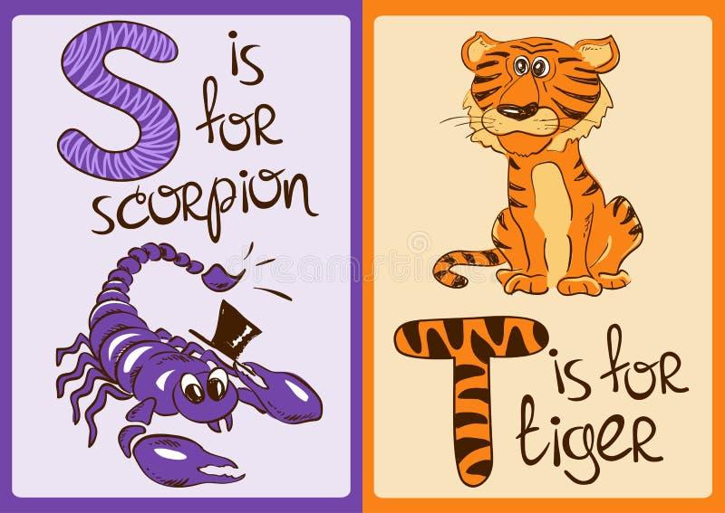 Barnalfabet med roliga djur skorpion och tiger royaltyfri illustrationer