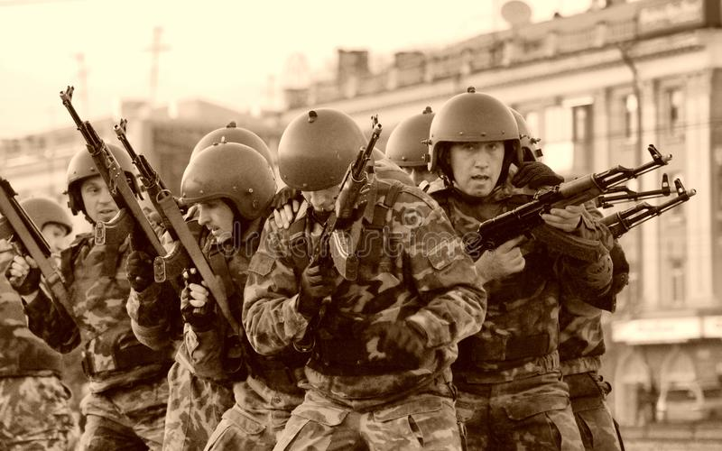 A group of special forces soldiers trained to fight in the city. Barnaul, Altai Krai-may 7, 2014.A group of special forces soldiers trained to fight in the city royalty free stock photography