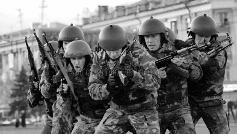 A group of special forces soldiers trained to fight in the city. Barnaul, Altai Krai-may 7, 2014.A group of special forces soldiers trained to fight in the city royalty free stock image
