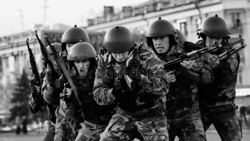 A group of special forces soldiers trained to fight in the city. Barnaul, Altai Krai-may 7, 2014.A group of special forces soldiers trained to fight in the city stock photos