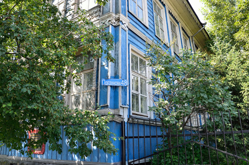 Barnaul, Russia, August, 17, 2016. the building where in 1917-1918 was the Council of soldiers `and workers` deputies in Barnaul. Barnaul, Russia, the building stock photography