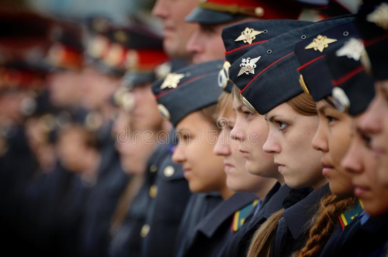 Cadets and officers of the Barnaul law Institute royalty free stock photos
