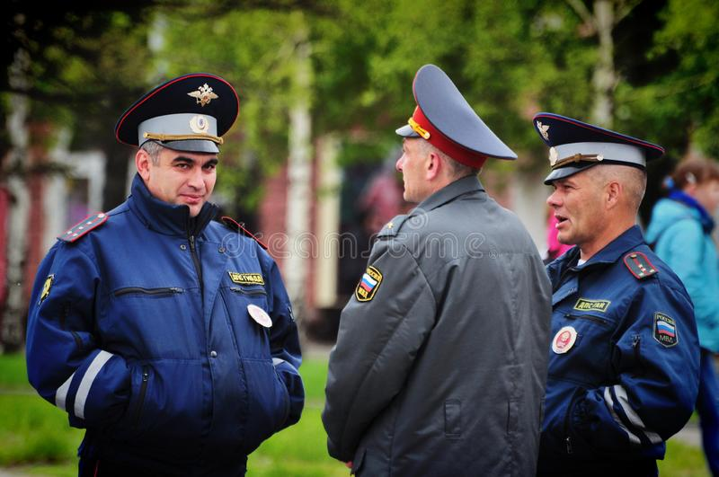 Police officers are on duty during the victory day. Barnaul,Russia-may 9, 2018. Police officers are on duty during the victory day royalty free stock images