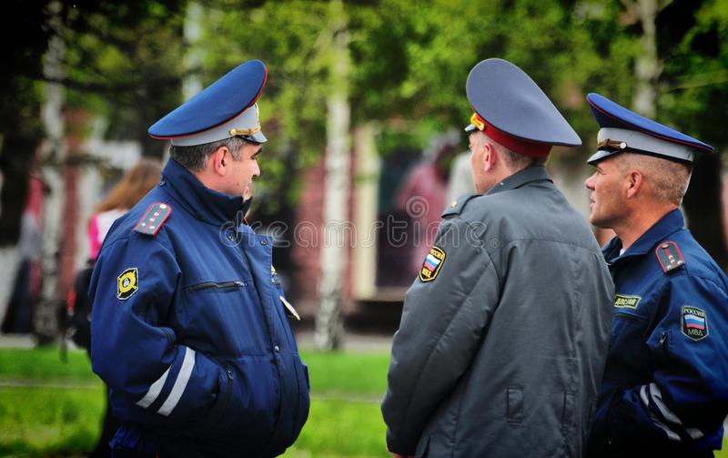 Police officers are on duty during the victory day. Barnaul,Russia-may 9, 2018. Police officers are on duty during the victory day stock images